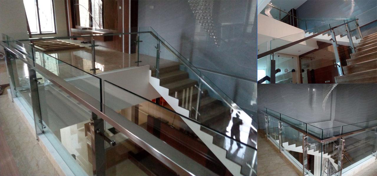 railing tangga kaca tampard